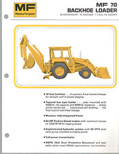 1973 MASSEY FERGUSON 70 TRACTOR BACKHOE LOADER BROCHURE