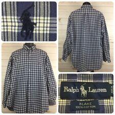 Ralph Lauren Men's Blake Dress Shirt XL Long Sleeves Blue White Plaid RN 41381