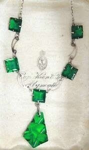 Art deco green square open back crystal Christmas tree shape pendant necklace