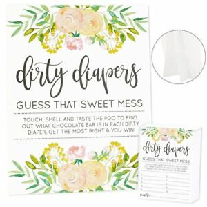 Guess That Sweet Mess Dirty Diapers Baby Shower Game with 1 Sign 60 Floral Cards