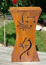 Rost Säule Katze Edelrostsäule Gartendeko - Motiv beidseitig
