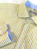 Maddison Mens Casual Shirt Green Yellow Striped Sz L Blue Flip Cuffs Long Sleeve
