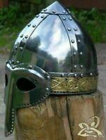 Vintage Medieval Helmet Norman Brass Steel Viking Helmet Handmade Halloween