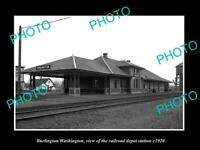 OLD POSTCARD SIZE PHOTO OF BURLINGTON WASHINGTON RAILROAD DEPOT STATION c1920