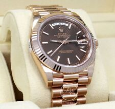 Rolex President 40mm Day-Date 228235 18K Rose Gold Chocolate Motif Dial *NEW*
