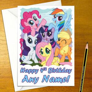 MY LITTLE PONY Personalised Birthday Card - A5 rainbow applejack sparkle pinkie