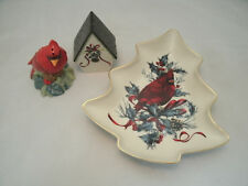 Lenox WINTER GREETINGS Christmas Tree Dish & Salt Pepper Fine Ivory China USA