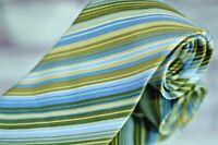 J.Crew Men's Tie Green Blue Multi Stripe Repp Silk Necktie