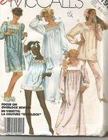 2193 McCalls Sewing Pattern UNCUT Pajamas Nightgown Size 8 10 12 Vtg 1980s Pjs