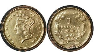 """1 Dollar 1868 """"Large Indian Head"""" Type 3 United States  🇺🇸 Gold Coin # 463"""