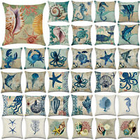 Ocean Animal Theme Sofa Decoration Cotton Linen Pillow Cases Waist Cushion Cover