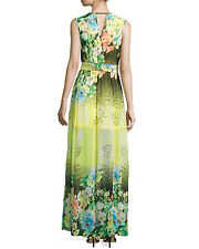 ALBERTO MAKALI $249 Yellow Flower Print V-Neck Sleeveless Maxi Dress M