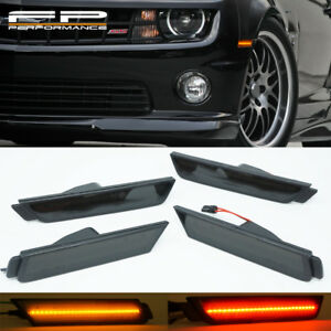 For 2010-2015 CHEVY CAMARO Smoked LENS LED SIDE MARKER LIGHTS FRONT & REAR SET