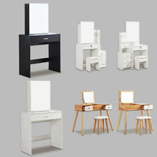 Modern Dressing Table Jewelry Makeup Desk w/ Mirror & Drawer 6 Styles Bedroom