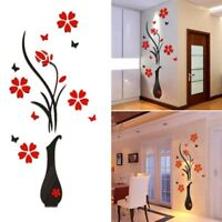 Fashion 3D Wall Stickers DIY Vase Flower Tree Crystal Decal Home Decor stickers