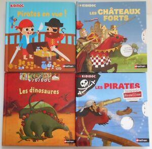 LOT de 4 LIVRES KIDIDOC Pirates - Dinosaures - Châteaux forts NATHAN