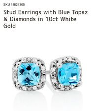 michael hill Stud Earrings with Blue Topaz & Diamonds in 10ct White Gold RRP$549