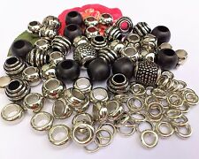 65 Donut Mix Silver Spacers ,SP Spacer*large hole fit bracelet, leather*new mix!