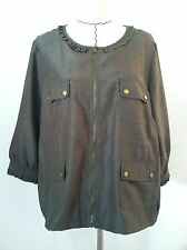 Linea 1X woman plus blouse green zip up pocket 3/4 sleeve metal snap ruffle size