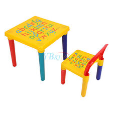 Kids ABC Alphabet Plastic Table and Chair Set Children Toddlers Learn & Play UK