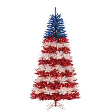 7.5ft. Patriotic American Tree Red White and Blue Artificial Christmas Tree