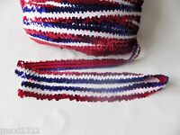 1 Metre of 30MM wide 3 ROW ELASTIC STRETCH SEQUIN TRIM : Red/White/Blue Stripe