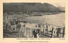 Hubbell's Laundry, Washday on Alaska Highway US Army c1940s Vintage Postcard
