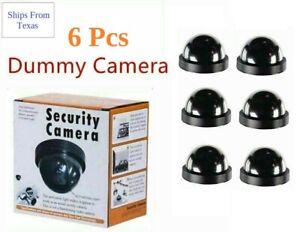 Fake Dummy Dome Surveillance Security Cameras - Set of 6 with LED Sensor Light