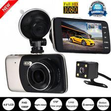 """4"""" HD 1080P 170° Dual Lens Car DVR Camera Dash Cam Front Rear Recorder G-sensor"""