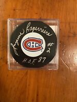 Jacques Laperriere signed Montreal Canadiens Puck with case. HOF Inscript. SS