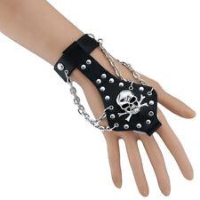 Hip Hop Palm Women Men Biker Gothic Skull Cross Bracelet Ring Leather Bangle