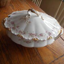Haviland Limoges-PINK ROSES SWAG-Oval Soup Covered Tureen-Gold Schleiger 475 J