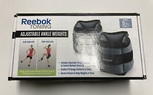 Two Reebok Toning Ankle Weights Adjustable From 1lb to 5lb Removable Sand Weight