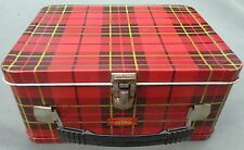 RED PLAID METAL LUNCHBOX - 1964 Vintage - THERMOS KING SEELEY - NO BOTTLE - GOOD