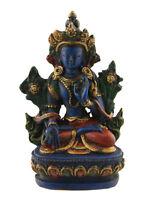Soprammobile Tibetano Verde Tara di Resina Verniciato Alla Mano Blu Lapis 9cm