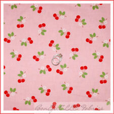 BonEful Fabric FQ Cotton Quilt Calico Flower Cherry VTG Baby PINK Red White Dot