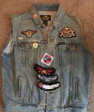 Harley Davidson Ladies Of Harley Jean Jacket Vest Sleeveless Large Denim Patches