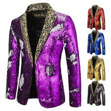 Men's Party Shiny Blazer Jacket Slim Fit Sequined Nightclub Glitter Stage Chic L