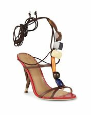 $1135 DSQUARED2 36/6 Ankle Tie Sculpted Heel Stones Sandals ITALY