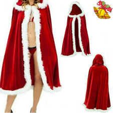 Christmas Women Adult Mrs Santa Claus Costume Cloak Cape Ladies Xmas Fancy Dress