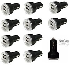LOT 10 Dual USB 2 Port Car Charger 2.1A BLACK Power Adapter for apple Samsung LG