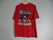 VINTAGE Harley Davidson 1989 Sturgis Bike Week T Shirt Motorcycle Bike LARGE L