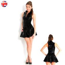Sexy Black Shiny PVC Vinyl Mini Dress Zipper Clubwear Party Dresses S-3XL