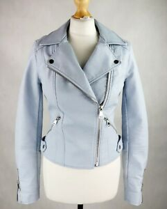 Womens RIVER ISLAND Faux leather Biker Jacket Size UK 8 Short Fitted Pastel blue