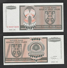 Croatia 20000000 20 Million Dinara (1993) PR13r REPLACEMENT #Z - UNC