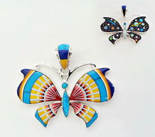 AMAZING MULTICOLOR GALAXY OPAL TURQUOISE INLAY .925 SILVER BUTTERFLY PENDANT