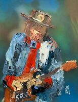 Abstract Portrait Stevie Ray Vaughn Blues Music Wall Art Original Painting SRV