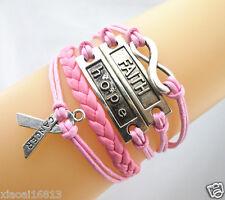 New Infinity/Faith/Hope/Breast Cancer Awareness Ribbon Leather Braided Bracelet