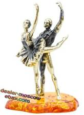 Bronze Solid Brass Baltic Amber Figurine Russian Ballet IronWork Statuette