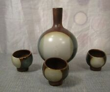 Danish Mid Century Modern Clay Vase and Candle Holder Set 3 Piece